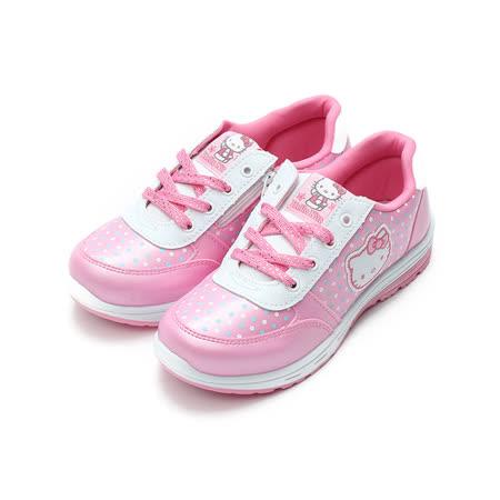 (中大童) HELLO KITTY 水玉點點休閒鞋 粉 鞋全家福