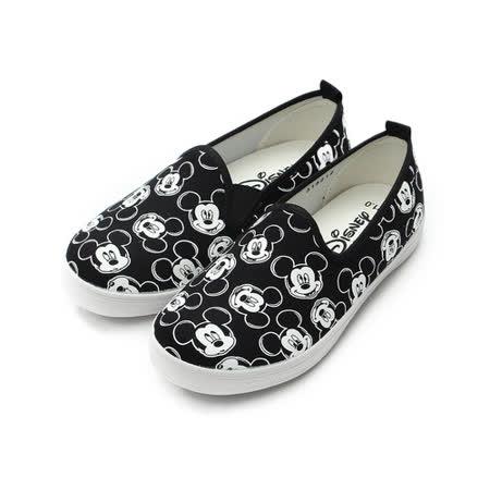 (中大童) DISNEY 米奇套式休閒帆布鞋 黑 鞋全家福