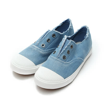(中大童) DOOK 鬆緊丹寧套式帆布鞋 藍 鞋全家福