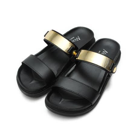 (女) NEW AGE 韓風金屬橫帶腳床拖鞋 黑 鞋全家福
