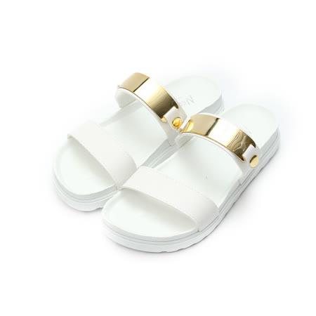 (女) NEW AGE 韓風金屬橫帶腳床拖鞋 白 鞋全家福