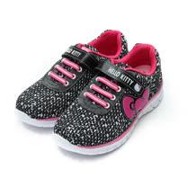 (中大童) HELLO KITTY 蝴蝶結編織紋輕量休閒鞋 黑 鞋全家福