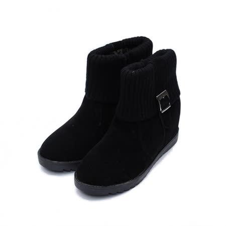 (女) Rin Rin 襪套釦短靴 黑 鞋全家福