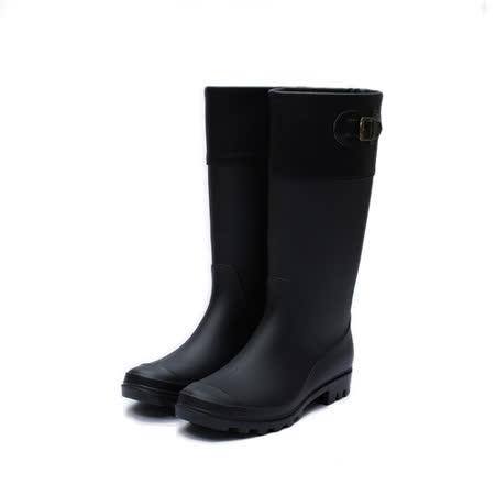 (女) DOOK 假反折金屬釦雨靴 黑 鞋全家福