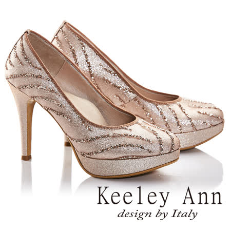 Keeley Ann素雅新娘晚宴真皮軟墊高跟鞋(淺粉色675157258-Ann系列)