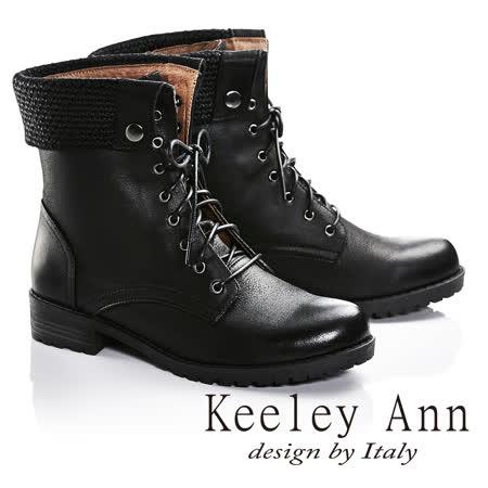 Keeley Ann率性街頭反摺真皮中筒靴(黑色677032110-Ann系列)