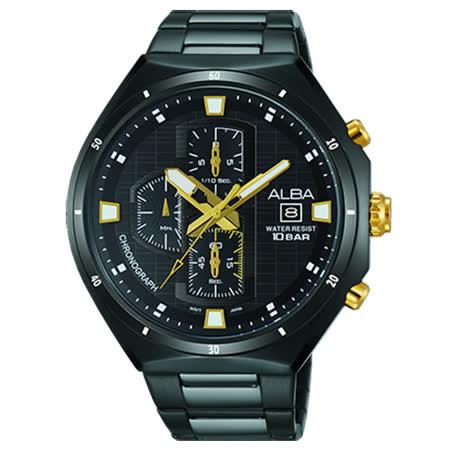 ALBA 雅柏 冬季聖誕節三眼計時腕錶(AM3403X1)-鍍黑/46mm/VD57-X087SD