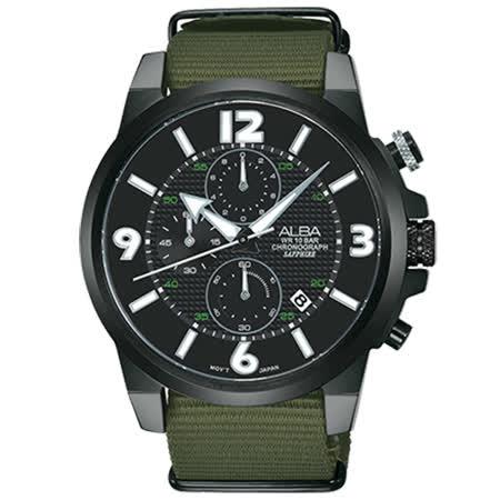ALBA 雅柏 ACTIVER系列 軍事風活力運動計時腕錶(AM3401X1)-黑x綠/44mm/VD57-X089U