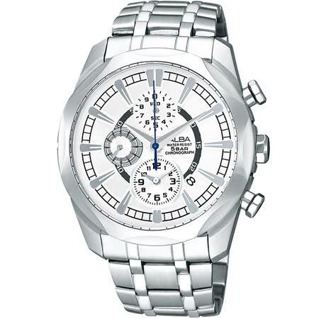 ALBA 雅柏 豪邁時尚三眼個性不鏽鋼腕錶/38mm/YM92-X148S