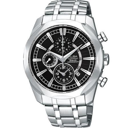 ALBA 雅柏 豪邁時尚個性不鏽鋼三眼計時腕錶(黑)/38mm/YM92-X148D