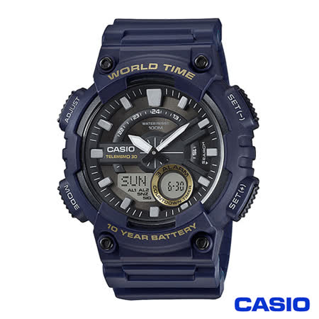 CASIO卡西歐 時尚潮流世界時間雙顯電子腕錶 AEQ-110W-2A