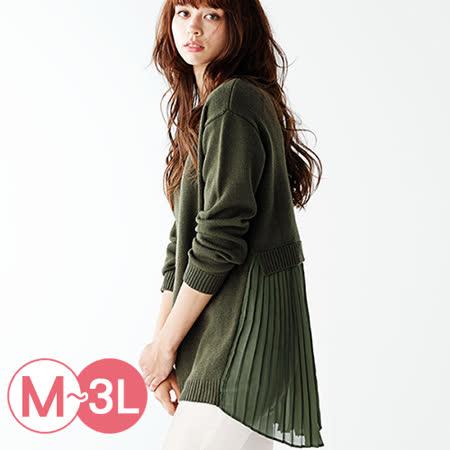 日本Portcros 預購-長版百褶雪紡針織拼接上衣(共四色/M-3L)