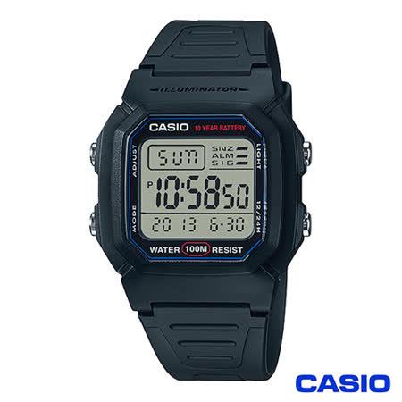 【CASIO 卡西歐】 數位電子式運動風中性錶  W-800H-1A