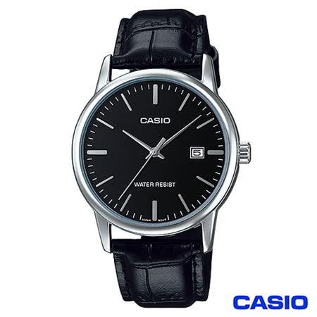 【CASIO卡西歐】 時尚女仕皮革腕錶-黑 LTP-V002L-1A
