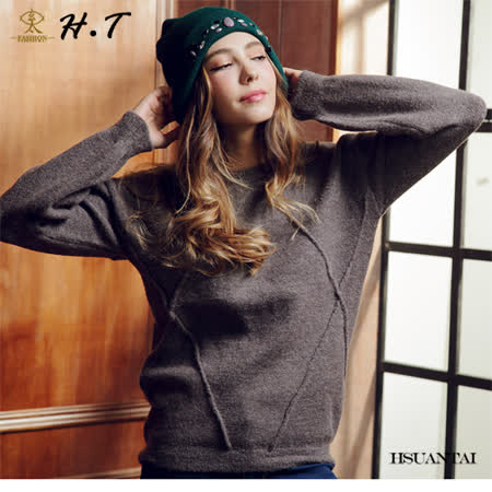 玄太-簡約寬鬆造型織紋圓領毛衣(灰)