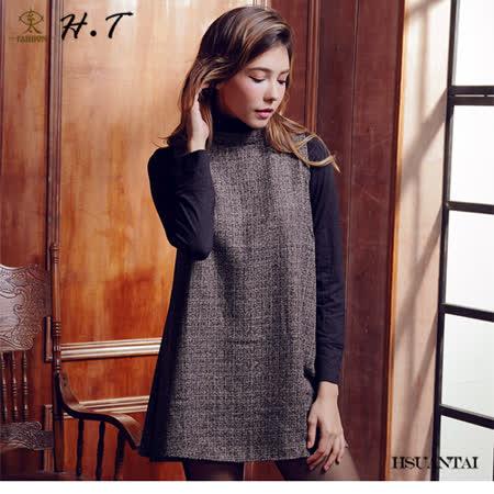 玄太-簡約細格紋半高領百搭顯瘦背心洋裝(灰)
