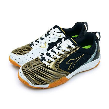 【男】DIADORA 專業排球、羽球鞋 弒殺烈焰系列 黑金白 3920