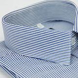 【金安德森】深藍色條紋窄版長袖襯衫(品特)