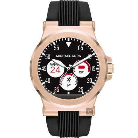 Michael Kors Access 觸控穿戴式智慧型腕錶-玫塊金x黑/45mm MKT5010