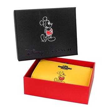 COACH X DISNEY鵝黃色米奇卡夾鑰匙零錢包