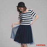 cantwo雙色條紋紗裙假兩件洋裝(共二色)
