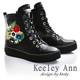 Keeley Ann時尚指標繡花混搭綁帶運動風真皮短靴(黑色677687210 -Ann系列)