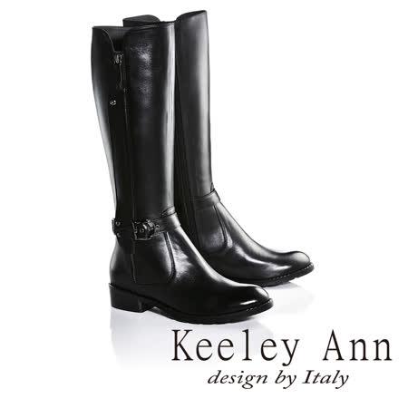 kKeeley Ann獨特側拉鍊造型皮帶金屬扣飾低跟長靴(黑色679002110-Ann系列)
