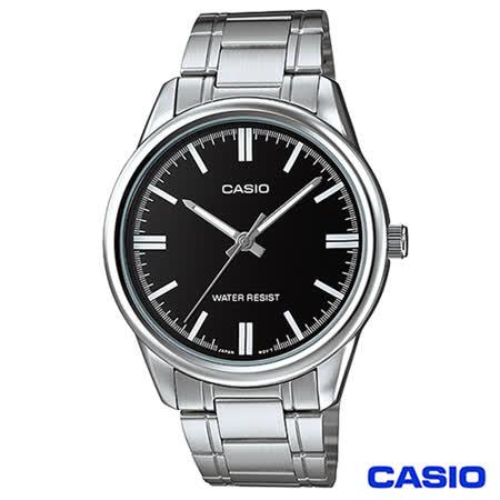 【CASIO卡西歐】 簡潔風格鋼帶男錶-黑 MTP-V005D-1A
