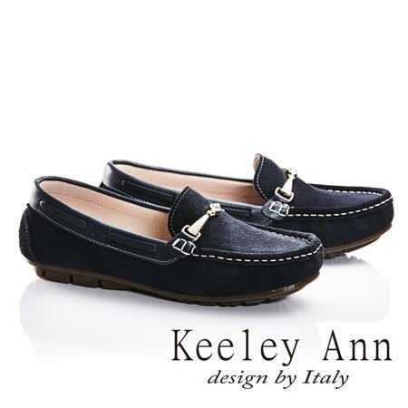 Keeley Ann鑲鑽金屬飾釦立體車縫線OL全真皮平底莫卡辛鞋(藍色685183260)