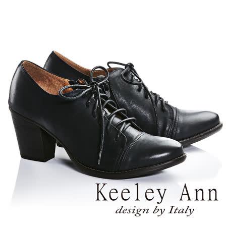 Keeley Ann復古學院-簡約大方全真皮綁帶高跟牛津鞋(黑色685298110)