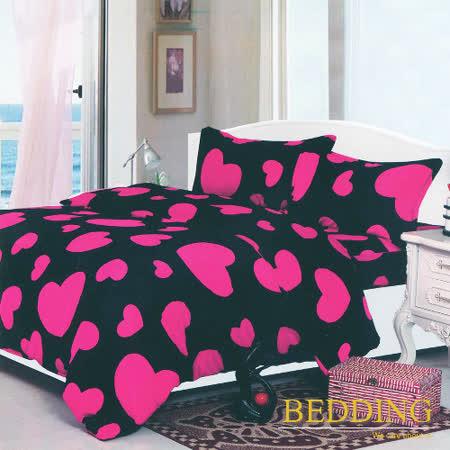 【BEDDING】超保暖法蘭絨 雙人四件式鋪棉床包兩用被毯組   心跳十分