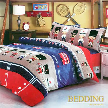 【BEDDING】超保暖法蘭絨 雙人四件式鋪棉床包兩用被毯組  皇家士兵