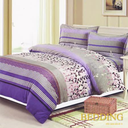 【BEDDING】超保暖法蘭絨 雙人四件式鋪棉床包兩用被毯組  葉葉生輝