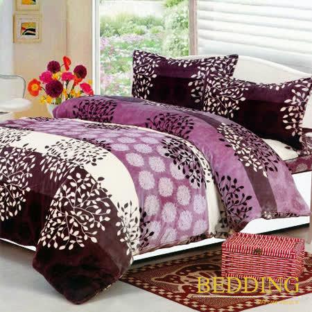 【BEDDING】超保暖法蘭絨 雙人四件式鋪棉床包兩用被毯組  葉語馨香