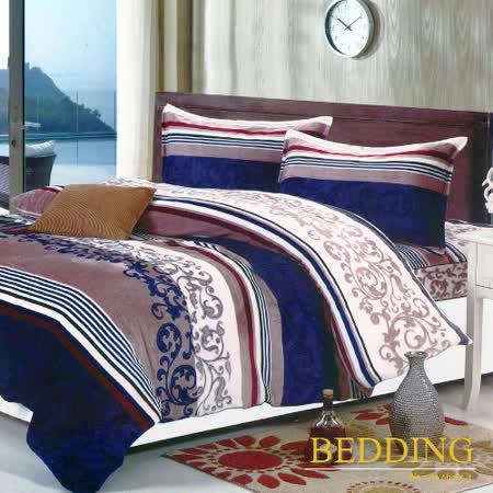 【BEDDING】超保暖法蘭絨 雙人加大四件式鋪棉床包兩用被毯組 典尚風情