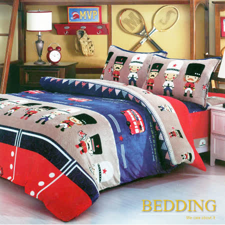 【BEDDING】超保暖法蘭絨 雙人加大四件式鋪棉床包兩用被毯組  皇家士兵