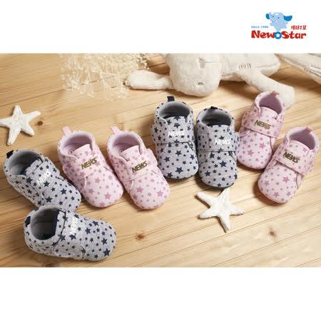 聖哥Newstar✩可愛星星舒適幼兒學步鞋-嬰兒鞋-寶寶鞋-閃耀粉-好穿星星超可愛-黏扣設計-穿脫方便-包覆小腳-0~2歲-學步
