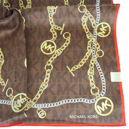 MICHAEL KORS 字母邊鎖鏈滿版棉質帕巾(大/咖x橘)