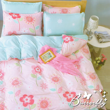 BUTTERFLY   柔絲絨雙人加大薄床包 含枕套x2 【美伊娜-粉】