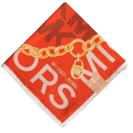 MICHAEL KORS 字母邊鎖鏈輕柔棉質帕巾(橘x米)