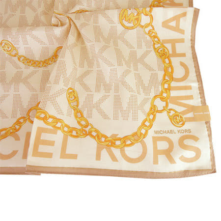 MICHAEL KORS 字母邊鎖鏈輕柔棉質帕巾(米x金)
