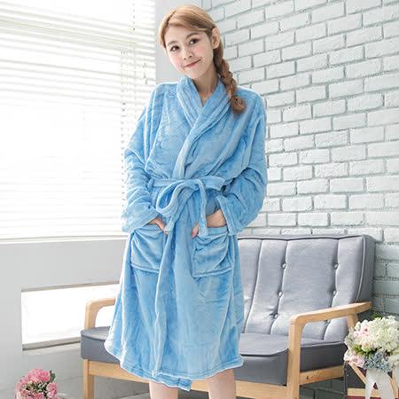 CoFeel精選 舒適法蘭絨綁帶睡袍/浴袍-藍色