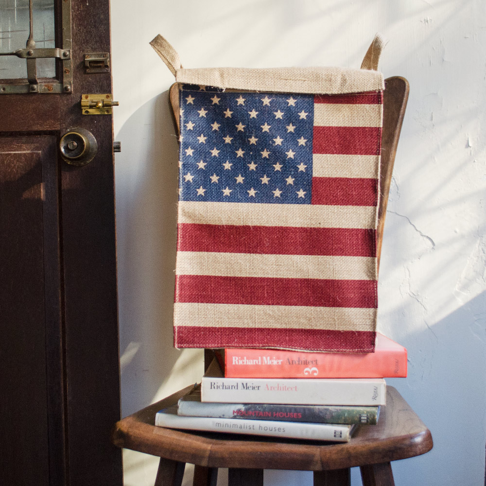 ~收納職人~美式復古LOFT工業風美國國旗附蓋黃麻收納整理籃儲物盒 ^(美國風^)
