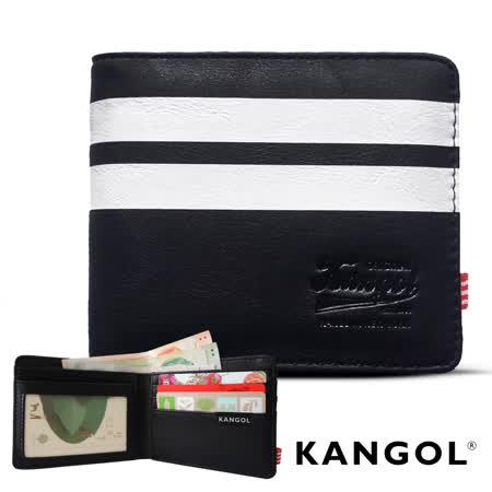 【KANGOL】韓式潮流-多夾層橫式短皮夾+鑰匙圈禮盒 (條紋黑 KG1162-01)