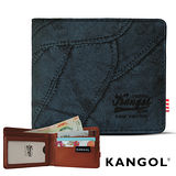 【KANGOL】韓式潮流-多夾層橫式短皮夾+鑰匙圈禮盒 (牛仔藍 KG1162-03)