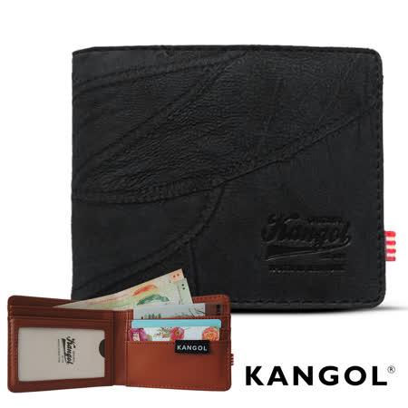 【KANGOL】韓式潮流-多夾層橫式短皮夾+鑰匙圈禮盒 (牛仔黑 KG1162-04)