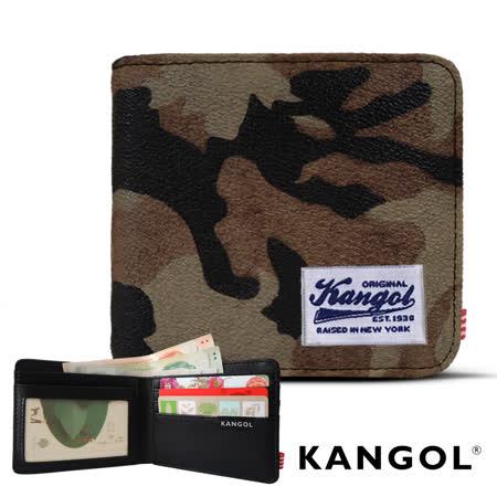 【KANGOL】韓式潮流-多夾層橫式短皮夾+鑰匙圈禮盒 (迷彩咖 KG1162-10)