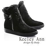 Keeley Ann異國情懷-絨毛滾邊十字架水鑽設計真皮內增高短靴(黑色687078210)