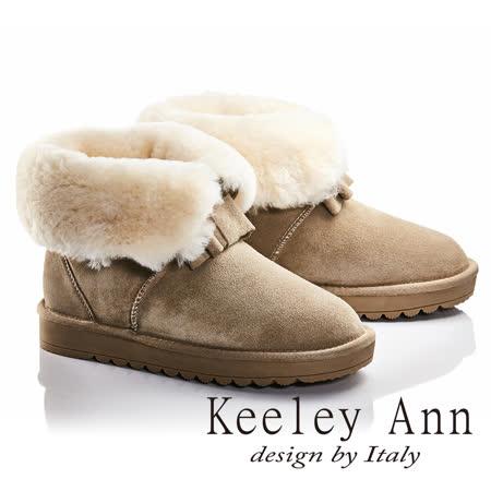 Keeley Ann異國戀冬-反折暖毛蝴蝶結造型真皮平底雪靴(米色687158330)