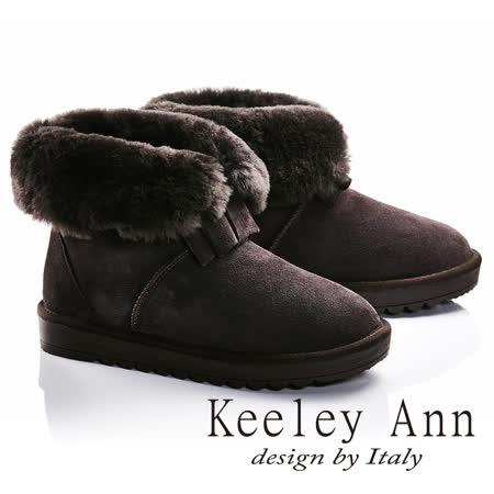 Keeley Ann異國戀冬-反折暖毛蝴蝶結造型真皮平底雪靴(咖啡色687158370)